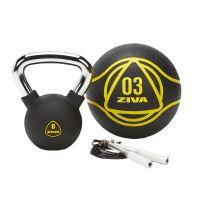ZIVA stylová fitness sada s kettlebellem - černá